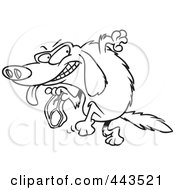 Royalty Free RF Clip Art Illustration Of A Cartoon Black And White Outline Design Of A Golden Retriever Stealing A Steak by toonaday