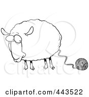 Royalty Free RF Clip Art Illustration Of A Cartoon Black And White Outline Design Of A Sheep Connected To Yarn by toonaday