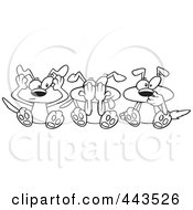 Royalty Free RF Clip Art Illustration Of A Cartoon Black And White Outline Design Of Hear No See No And Speak No Evil Dogs