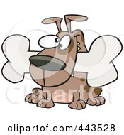 Royalty Free RF Clip Art Illustration Of A Cartoon Dog With A Bone