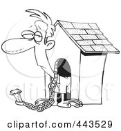 Royalty Free RF Clip Art Illustration Of A Cartoon Black And White Outline Design Of A Man Chained By A Dog House