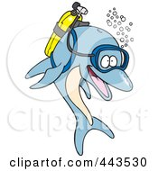 Royalty Free RF Clip Art Illustration Of A Cartoon Scuba Dolphin by toonaday