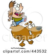 Royalty Free RF Clip Art Illustration Of A Cartoon Boy Riding A Dog