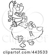 Royalty Free RF Clip Art Illustration Of A Cartoon Black And White Outline Design Of A Boy Riding A Dog