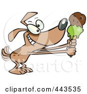 Royalty Free RF Clip Art Illustration Of A Cartoon Dog Holding Out An Ice Cream Cone