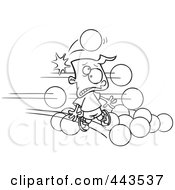 Royalty Free RF Clip Art Illustration Of A Cartoon Black And White Outline Design Of Dodgeballs Hitting A Boy by toonaday