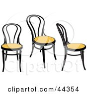 Three Yellow Antique Chairs