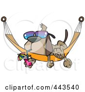 Royalty Free RF Clip Art Illustration Of A Cartoon Dog Lounging On A Hammock by toonaday #COLLC443540-0008