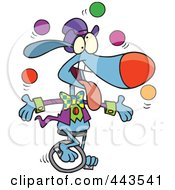 Royalty Free RF Clip Art Illustration Of A Cartoon Dog Juggling And Unicycling