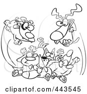 Royalty Free RF Clip Art Illustration Of A Cartoon Black And White Outline Design Of Dogs Jumping In A Pile