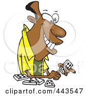 Royalty Free RF Clip Art Illustration Of A Cartoon Black Man Playing Dominoes by toonaday
