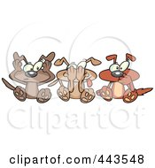 Royalty Free RF Clip Art Illustration Of Cartoon Hear No See No And Speak No Evil Dogs