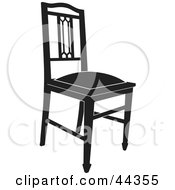 Black And White Gothic Styled Chair Facing Slight Right