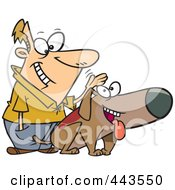 Royalty Free RF Clip Art Illustration Of A Cartoon Man Patting His Dog