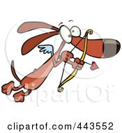 Royalty Free RF Clip Art Illustration Of A Cartoon Cupid Wiener Dog by toonaday