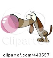 Royalty Free RF Clip Art Illustration Of A Cartoon Dog Chewing Bubble Gum by toonaday