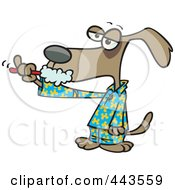 Royalty Free RF Clip Art Illustration Of A Cartoon Dog Brushing His Teeth by toonaday