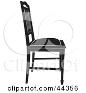 Black And White Gothic Styled Chair Facing Right