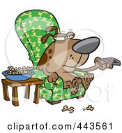 Royalty Free RF Clip Art Illustration Of A Cartoon Dog Munching On Bones And Watching Tv by toonaday