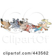 Royalty Free RF Clip Art Illustration Of A Cartoon Female Dog Walker