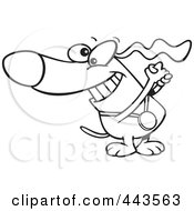 Royalty Free RF Clip Art Illustration Of A Cartoon Black And White Outline Design Of A Champion Dog With A Medal