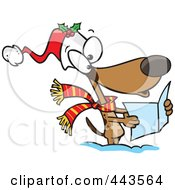 Royalty Free RF Clip Art Illustration Of A Cartoon Dog Singing Christmas Carols