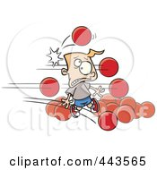 Royalty Free RF Clip Art Illustration Of Cartoon Dodgeballs Hitting A Boy by Ron Leishman