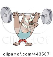 Royalty Free RF Clip Art Illustration Of A Cartoon Dog Lifting Weights
