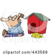 Royalty Free RF Clip Art Illustration Of A Cartoon Man Sitting By A Dog House