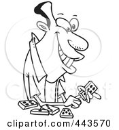 Royalty Free RF Clip Art Illustration Of A Cartoon Black And White Outline Design Of A Black Man Playing Dominoes by toonaday
