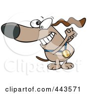 Royalty Free RF Clip Art Illustration Of A Cartoon Champion Dog With A Medal