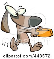 Royalty Free RF Clip Art Illustration Of A Cartoon Dog Carrying A Dish