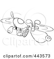 Royalty Free RF Clip Art Illustration Of A Cartoon Black And White Outline Design Of A Dog Sniffing In Circles
