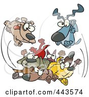 Royalty Free RF Clip Art Illustration Of A Cartoon Dogs Jumping In A Pile