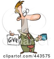 Royalty Free RF Clip Art Illustration Of A Cartoon Broke Businessman Holding A Cup And Give Sign