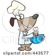 Cartoon Chef Dog Mixing With A Bone