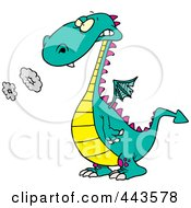 Royalty Free RF Clip Art Illustration Of A Cartoon Smoking Dragon by toonaday