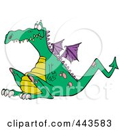 Royalty Free RF Clip Art Illustration Of A Cartoon Sitting Dragon by toonaday