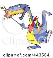 Cartoon Dragon Roasting Sausage
