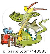 Royalty Free RF Clip Art Illustration Of A Cartoon Sewing Dragon by toonaday