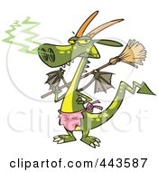 Royalty Free RF Clip Art Illustration Of A Cartoon Dragon Wearing An Apron And Holding A Broom by toonaday