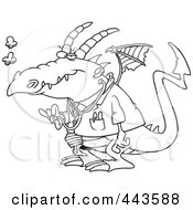 Royalty Free RF Clip Art Illustration Of A Cartoon Black And White Outline Design Of A Doctor Dragon