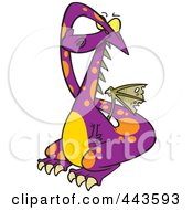 Royalty Free RF Clip Art Illustration Of A Cartoon Dragon Covering His Eyes by toonaday