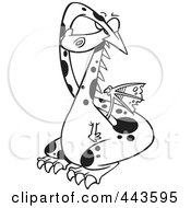 Royalty Free RF Clip Art Illustration Of A Cartoon Black And White Outline Design Of A Dragon Covering His Eyes