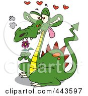Royalty Free RF Clip Art Illustration Of A Cartoon Romantic Dragon by toonaday