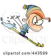 Royalty Free RF Clip Art Illustration Of A Cartoon Boy Skiing
