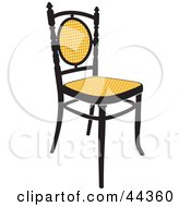 Vintage Black And Yellow Chair Facing Slightly Right