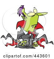 Royalty Free RF Clip Art Illustration Of A Cartoon Vampire In A Long Cape by toonaday