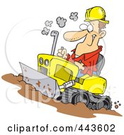 Cartoon Man Operating A Bulldozer