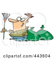 Royalty Free RF Clip Art Illustration Of A Cartoon Man Finished Raking Leaves by toonaday